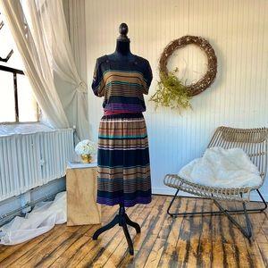 Vintage 80s 90s Chaus Boho Stripe Skirt Top Set